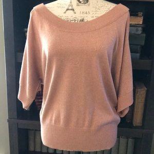 Rose Gold Open Shoulder Knit Top